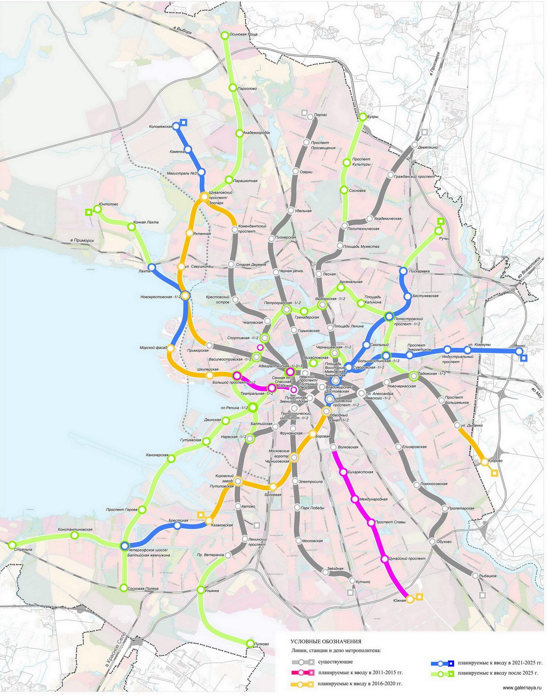 какие станции метро планируют выстроить в спб